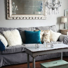 Contemporary Family Room by Comfort Works Custom Slipcovers