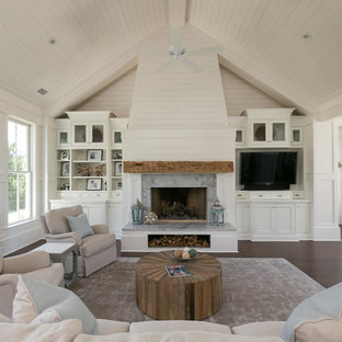 Example Of A Coastal Dark Wood Floor Family Room Design In Charleston With  White Walls,