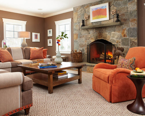 Brown and orange home design ideas pictures remodel and decor - Brown and orange living room ...