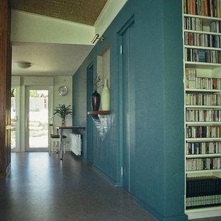 Ispirazione per un soggiorno minimal di medie dimensioni e aperto con pareti blu e pavimento in linoleum