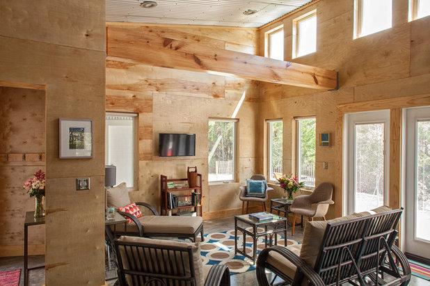 Industrial Family Room by Greene Design LLC