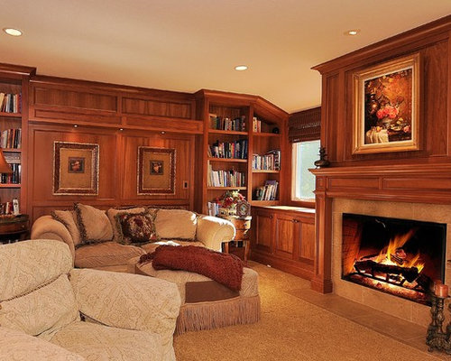 fireplace raised hearth. Mid sized traditional enclosed carpeted and beige floor family room idea in  Seattle with Traditional Fireplace With Raised Hearth Houzz