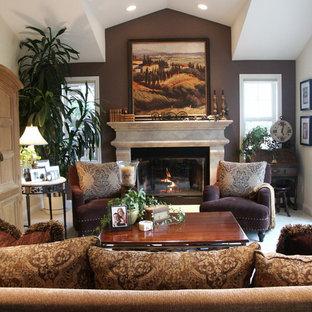 Mittelgroßes, Offenes Klassisches Wohnzimmer mit Kaminsims aus Stein, Kamin und grauer Wandfarbe in San Francisco