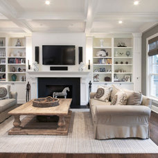 Transitional Family Room by Red Rock Custom Homes, Inc.