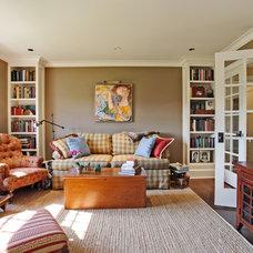 Farmhouse Family Room by Corbo Associates Inc.