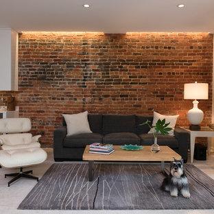 Imagen de sala de estar con barra de bar actual con suelo gris
