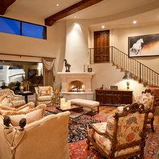 Mediterranean Family Room by Schultz Development Corp