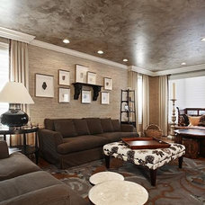 Transitional Family Room by Patricia Interiors