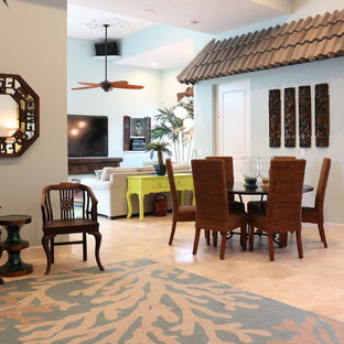 Example of an asian family room design in Miami