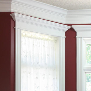 Ispirazione per un soggiorno classico con pareti rosse