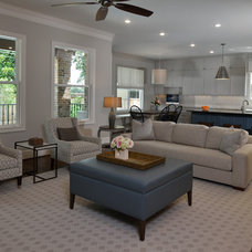 Transitional Family Room by Laura Manchee Designs