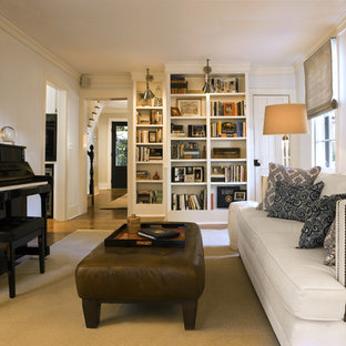 Example of a classic family room design in Atlanta with a music area