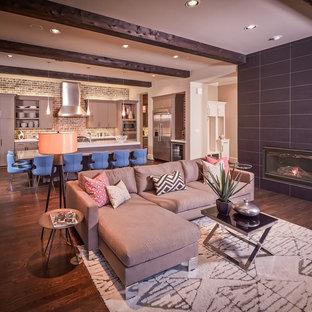 Trendy family room photo in Houston