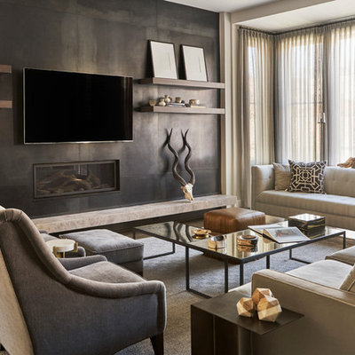 Family room - large transitional open concept family room idea in Chicago with gray walls, a standard fireplace, a metal fireplace and a wall-mounted tv