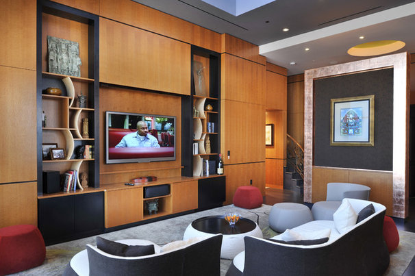 Contemporary Family Room by Amelie de Gaulle Interiors