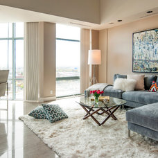 Transitional Family Room by Judith Balis Interiors