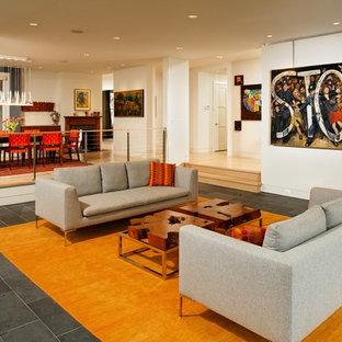 Immagine di un soggiorno classico di medie dimensioni e chiuso con pareti bianche, pavimento in ardesia, camino classico, cornice del camino in pietra, nessuna TV e pavimento grigio