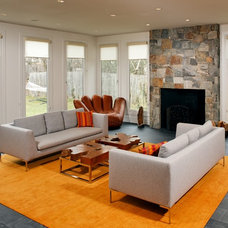 Transitional Family Room by Laurence Cafritz Builders