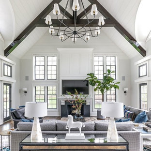 example of a large transitional open concept medium tone wood floor and brown floor family room - Family Room Design Ideas