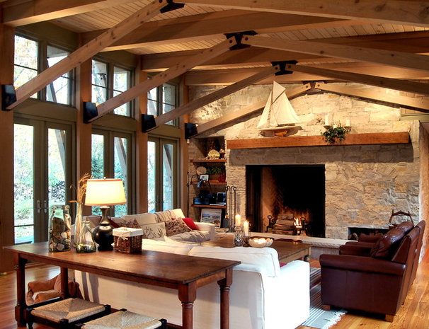 Rustic Family Room by Michael Abraham Architecture
