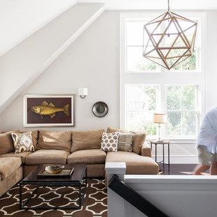 Immagine di un soggiorno classico stile loft con sala giochi, pareti bianche, nessun camino e nessuna TV