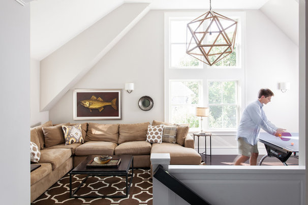 Transitional Family Room by Williams Design Studio