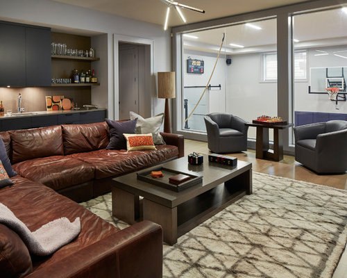 Contemporary Enclosed Medium Tone Wood Floor And Brown Floor Family Room  Idea In Chicago With A Part 96