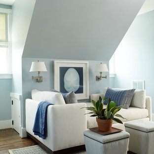 Cette image montre une salle de séjour marine avec un mur bleu et un sol en bois foncé.