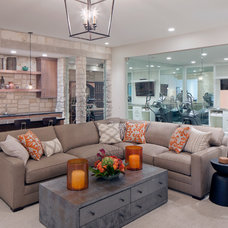 Transitional Family Room by J Visser Design