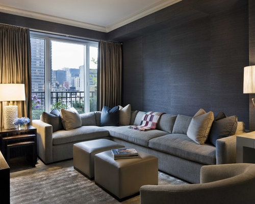 Inspiration For A Contemporary Family Room Remodel In New York With Black  Walls Part 94