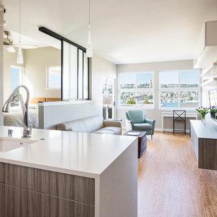Diseño de sala de estar abierta, moderna, pequeña, con paredes beige, suelo de corcho y televisor colgado en la pared
