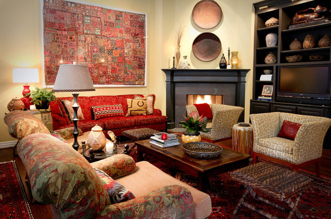 Eclectic Family Room by Cheryl Ketner Interiors