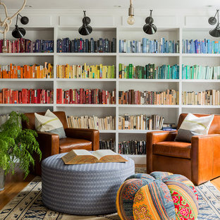 Family room library - eclectic family room library idea in Boston