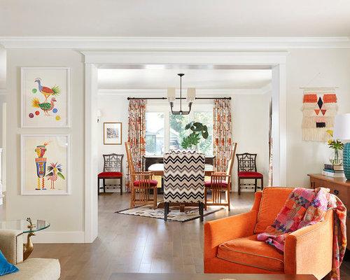 Salle de séjour avec un mur blanc split foyer : photos et idées ...