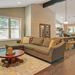 Eclectic medium tone wood floor family room photo in Grand Rapids with white walls and a ribbon fireplace