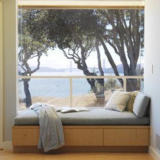Ispirazione per un soggiorno moderno con pareti grigie e parquet chiaro