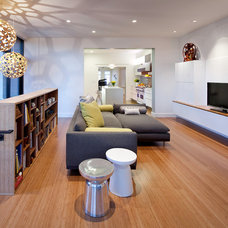 Modern Family Room by Three Legged Pig Design