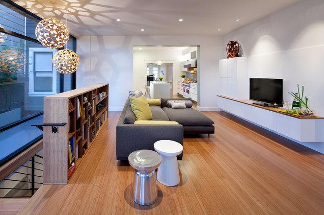 Modern Family Room by Three Legged Pig Design