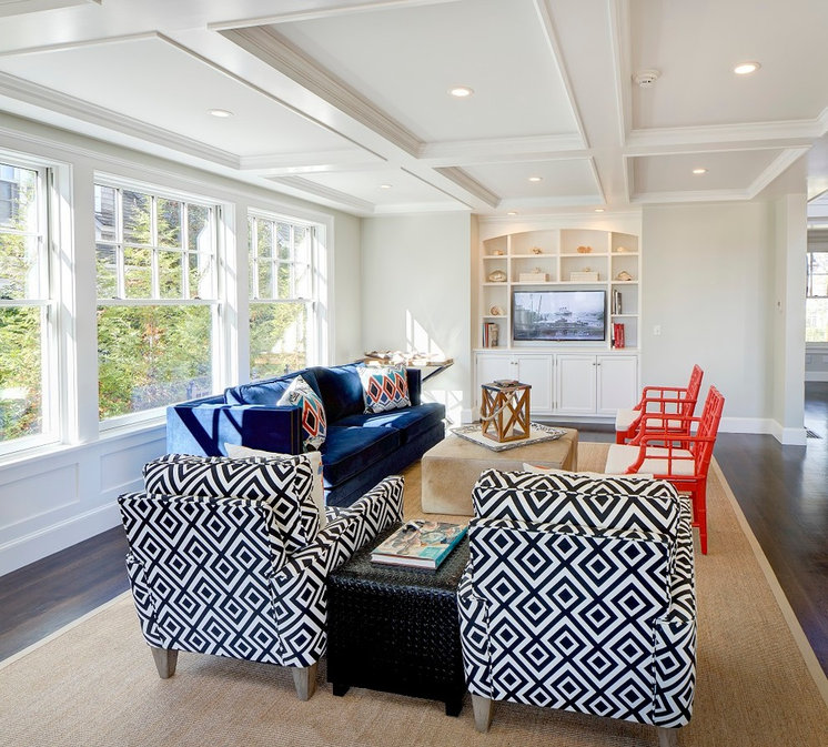 Beach Style Family Room by Sam Sherman Associates, LLC