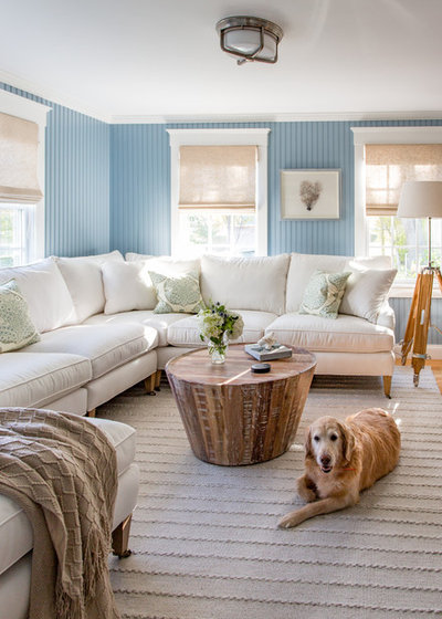 Beach Style Family Room by Martha's Vineyard Interior Design