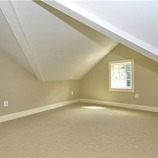 Family room - large traditional enclosed carpeted and brown floor family room idea in DC Metro with beige walls