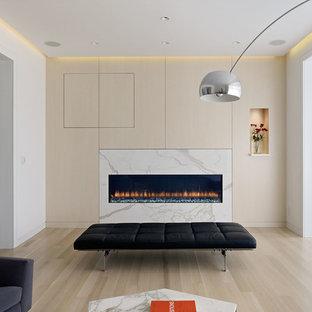 Cette image montre une salle de séjour minimaliste avec une cheminée ribbon, un manteau de cheminée en pierre, un mur multicolore, un sol en bois clair et un sol beige.