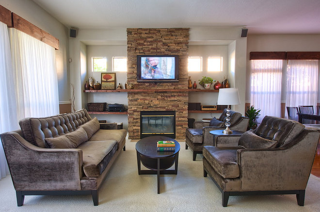 Contemporary Family Room by Mackenzie Collier Interiors