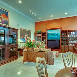 Idée de décoration pour une salle de séjour tradition de taille moyenne et ouverte avec un bar de salon, un mur orange, un sol en carrelage de porcelaine, aucune cheminée et un téléviseur encastré.