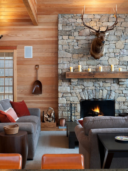 Cabin fireplace home design ideas pictures remodel and decor for Cabin fireplace pictures