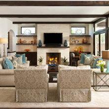 Transitional Family Room by Ellen Grasso & Sons, LLC