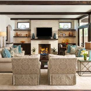 Family room - transitional family room idea in Dallas