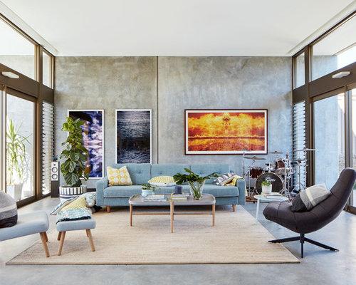 Industrial Family Room Design Ideas, Renovations & Photos