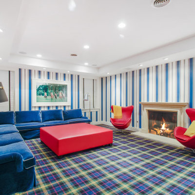 Inspiration for a timeless carpeted and multicolored floor family room remodel in Chicago with multicolored walls and a standard fireplace