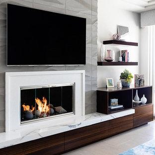 サンディエゴの中くらいのモダンスタイルのおしゃれなオープンリビング (白い壁、ライムストーンの床、標準型暖炉、石材の暖炉まわり、埋込式メディアウォール、グレーの床) の写真